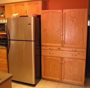 Cupboard installed in kitchen