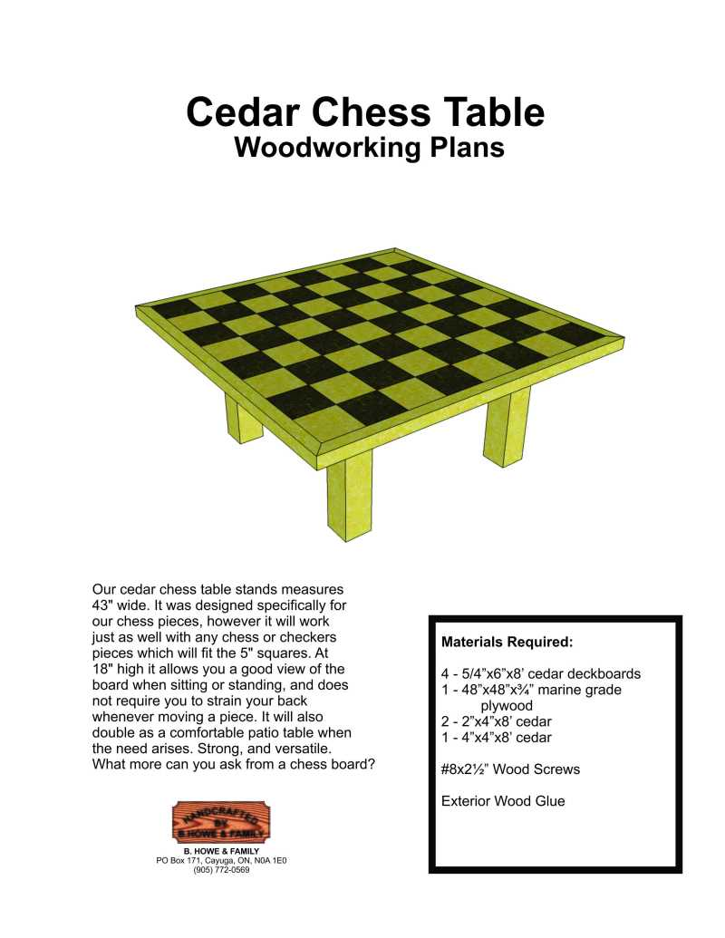 woodworking plans chess table