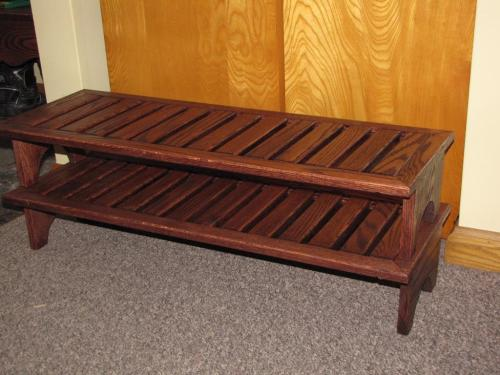 Solid oak shoe rack