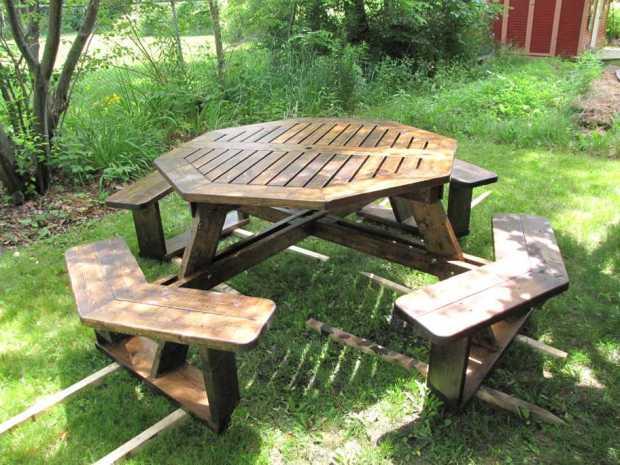 Log picnic table plans free download shelf design online for Log table design