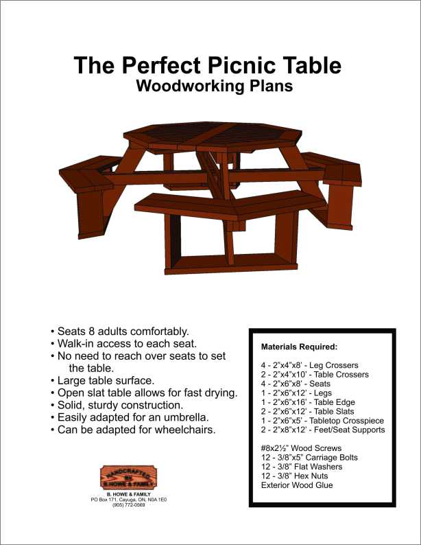 plans to build hexagon picnic table