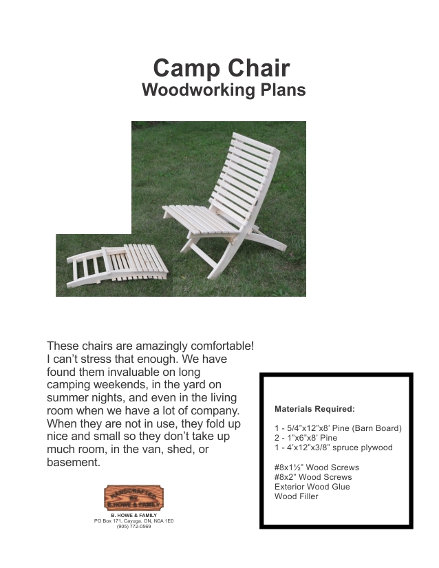 Scissor Camp Chair Plans
